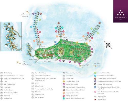 New Resort Map of Six Senses Laamu Maldives. complete Island Map of Six Senses Laamu Maldives Resort to help you Locate the Best Villa