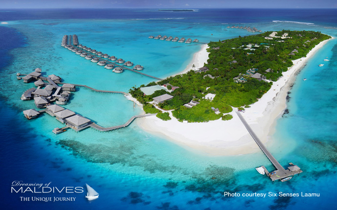 Six Senses Laamu best resort for snorkeling in Maldives. Aerial View