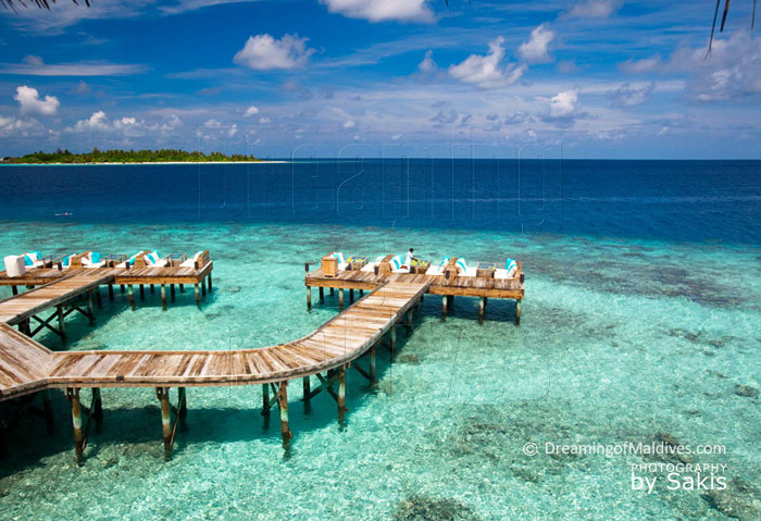 Close-by Snorkeling reef at Six Senses Laamu, located in front of the bar