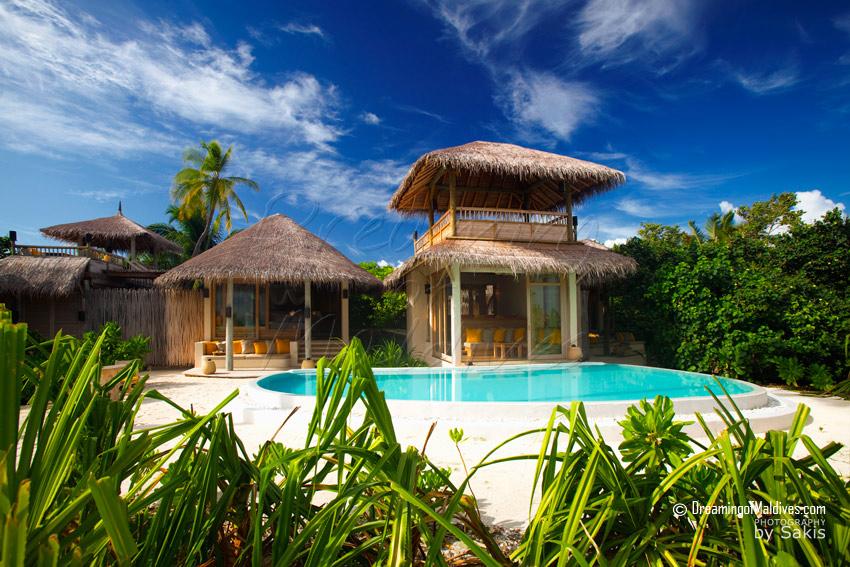 Two-Bedroom Lagoon Beach Villa with PoolGallery at six senses laamu