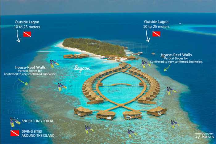 Lily Beach Maldives Resort Diving And Snorkeling Map
