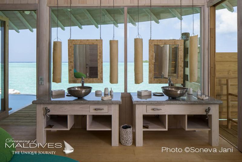 Soneva Jani water villa bathroom