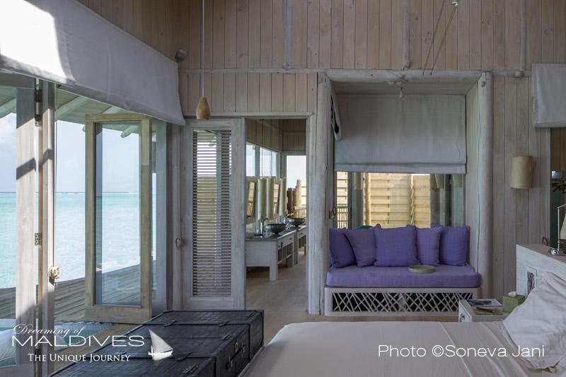 Soneva Jani water villa master bedroom