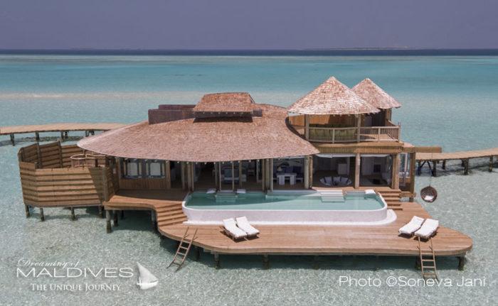 Soneva Jani water villa Aerial
