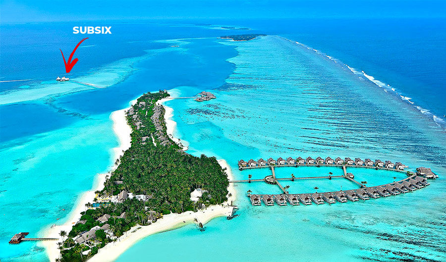 Aerial Photo of SUBSIX Niyama Maldives.Located more than located 500 meters off-shoreNiyama main island, Subsix is only accessible by boat from the resort.