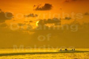 Sunset on a Sandbank inMaldives.