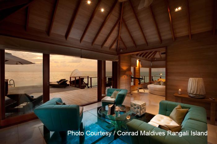 Michael Phelps Sunset Water Villa at Conrad Maldives Rangali Island.