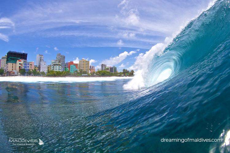 Surf Break in Male Raalhugandu, the main break in town