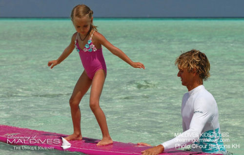 Maldives Family Hotel Four Seasons Kuda Huraa Surf Kid Activities