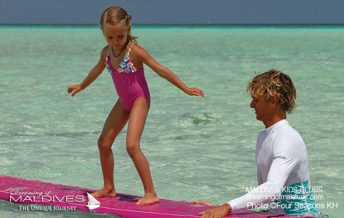 Maldives Family Hotel Four Seasons Kuda Huraa Surf Kid Activities