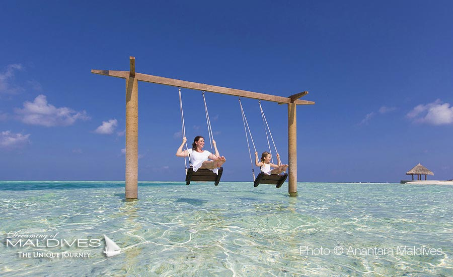 The Swing for 2 in the lagoon at Anantara Dhigu