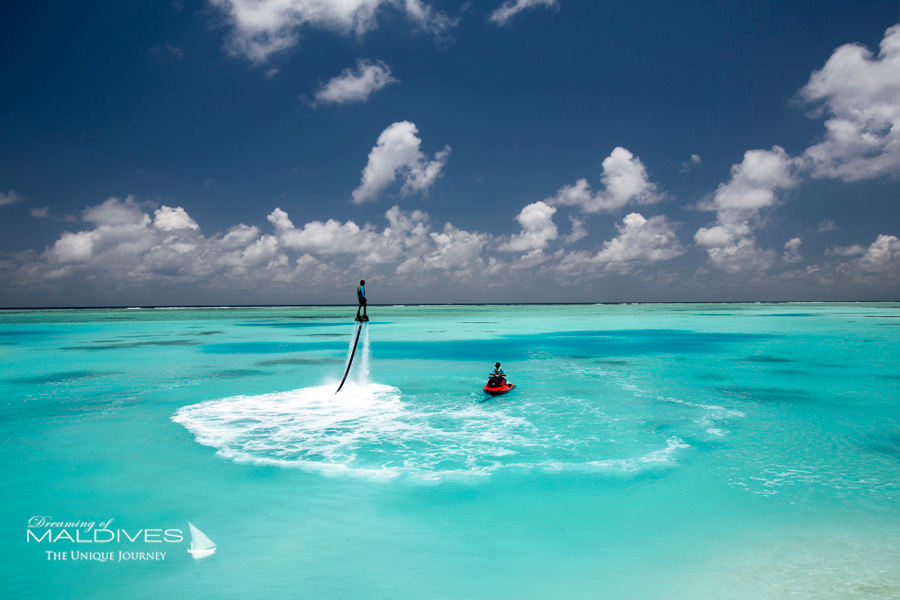Things To Do In Maldives. Make a splash with water sports Like Flyboard