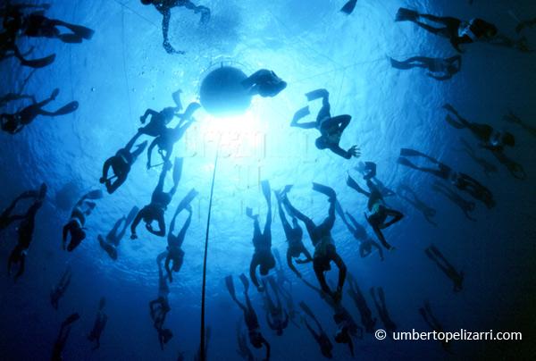 Umberto pelizarri free diving in Maldives at Six Senses Laamu
