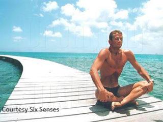 Umberto Pelizzari breath-holding before Free Diving at Six Senses Laamu Maldives
