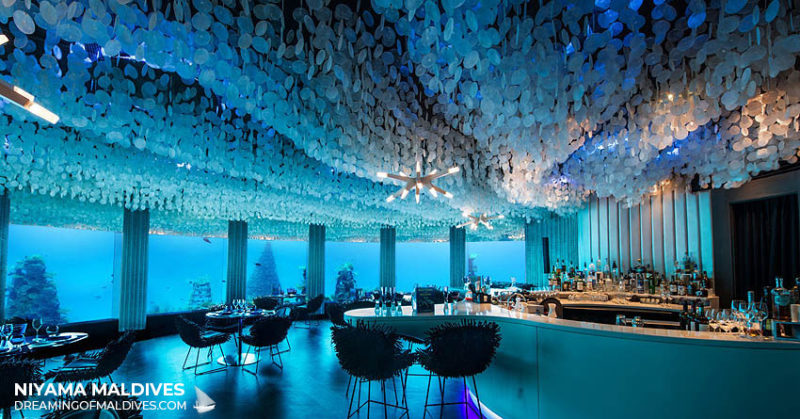 underwater restaurant and bar in Maldives Niyama Subsix