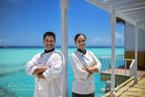 Meet the Chefs at M6m - OZEN at Maadhoo On the left Master Chef Chaitanya Sharma and on the right Chef Akshya Shivkumar