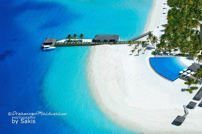 Velassaru Maldives - Aerial Close-up on the infinity Pool