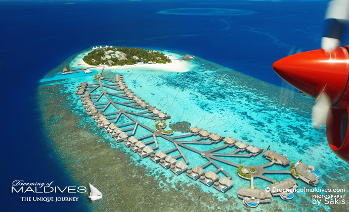 W Maldives best resort for snorkeling in Maldives. Aerial View
