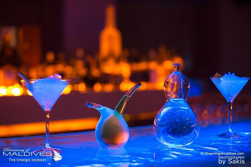 Glowing cocktails at W Maldives 15 Below Night-Club