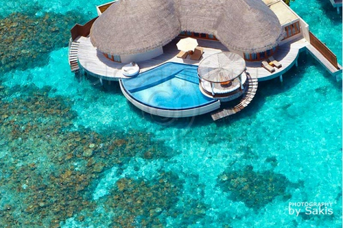 W Retreat and Spa Maldives - Ocean Haven Retreat over the lagoon
