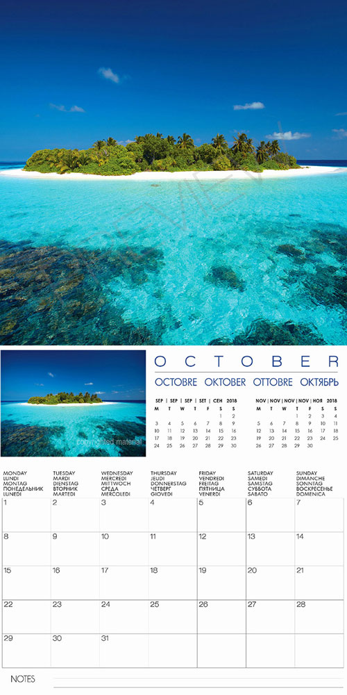 2018 Wall calendar Islands Maldives Tropical Islands Wall Calendar