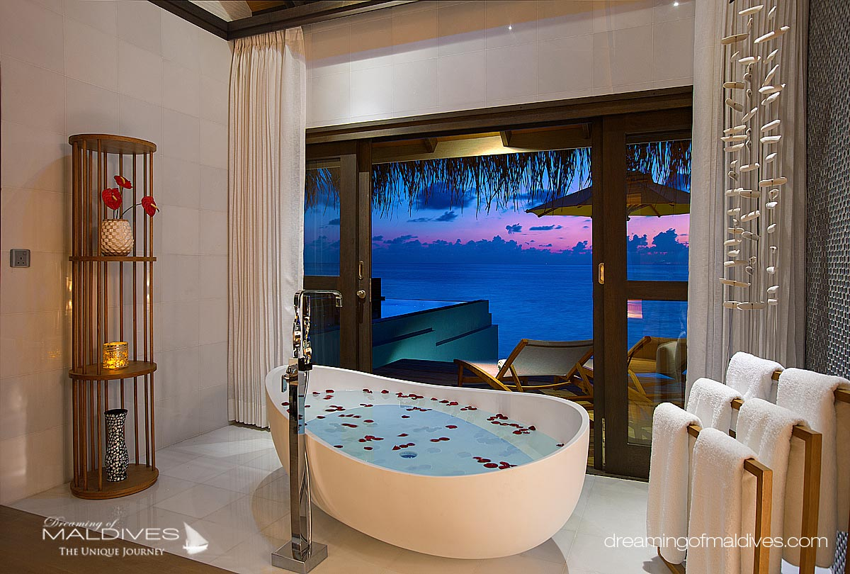 Ozen at Maadhoo Maldives. View from a Water Villa Bathroom
