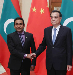 Pro-China president Yameen has developed strong relationship with Chinese.