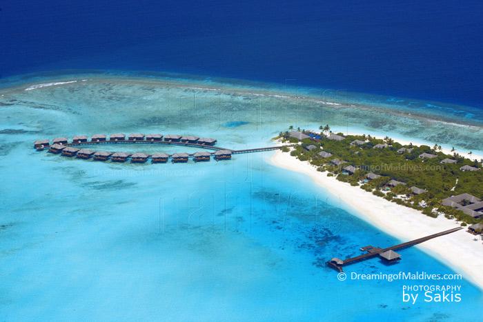 Zitahli Kuda-Funafaru Aerial Photo. The lagoon, the Reef, the island and the Villas