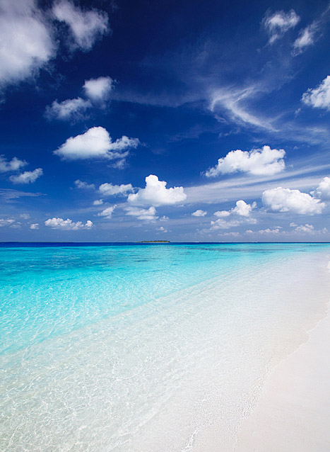 Maldives white sandy beaches and turquoise crystal blue lagoon