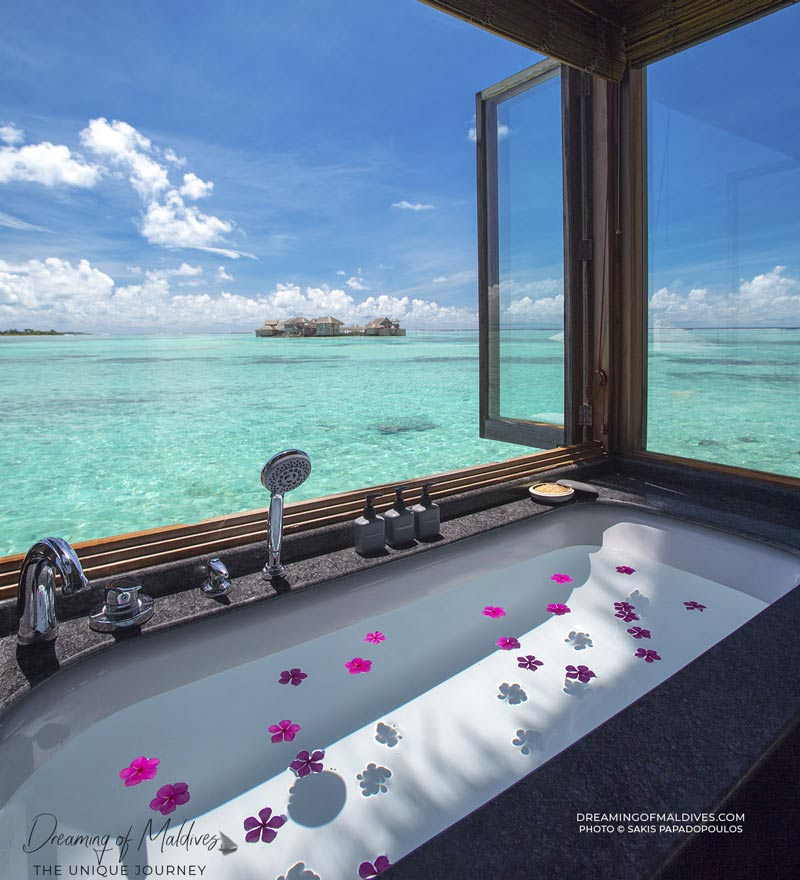 Dreamy View from our bathroom at Gili Lankanfushi Maldives