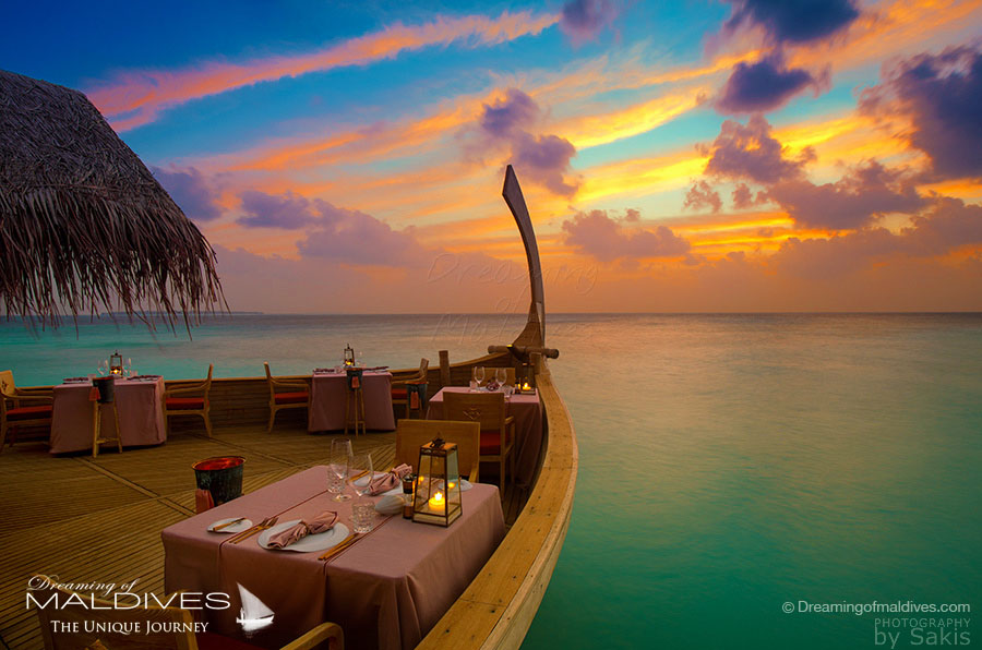 Milaidhoo Ba'theli Restaurant at Sunset
