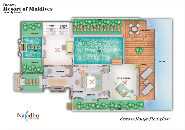 Naladhu Maldives Ocean Pool Villas Floor Plan