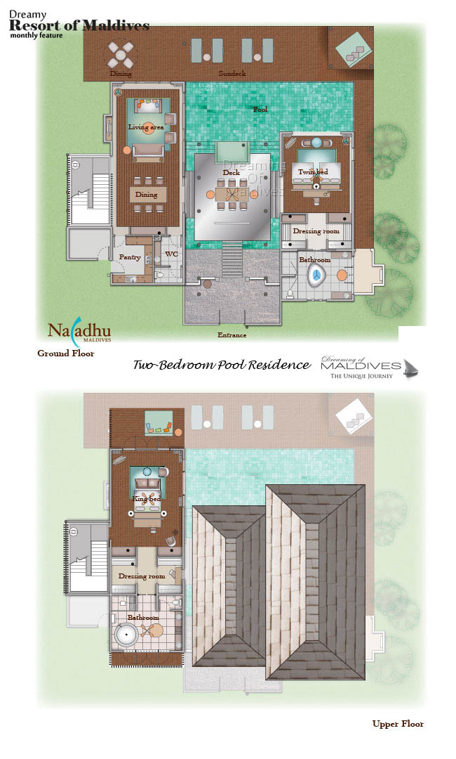Naladhu Maldives Two-Bedroom Pool Residence Floor Plan