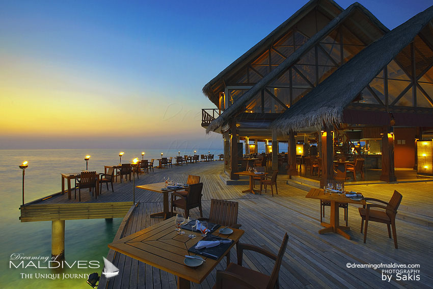 Anantara Dhigu Maldives Resort and Spa Main Restaurant at Sunset