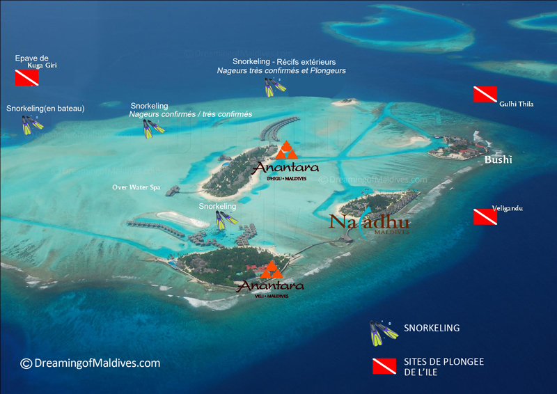 Anantara Dhigu diving and snorkeling map