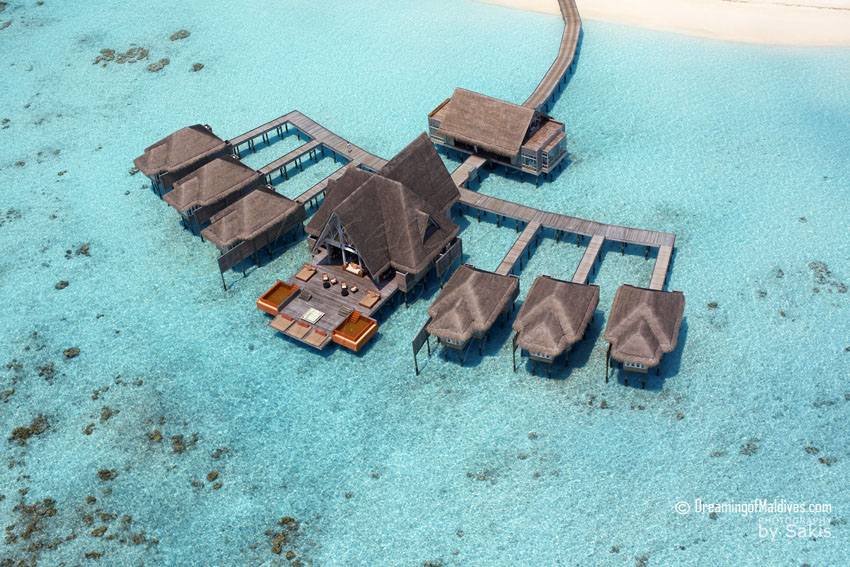 Anantara Kihavah Maldives - Over Water Spa Aerial View