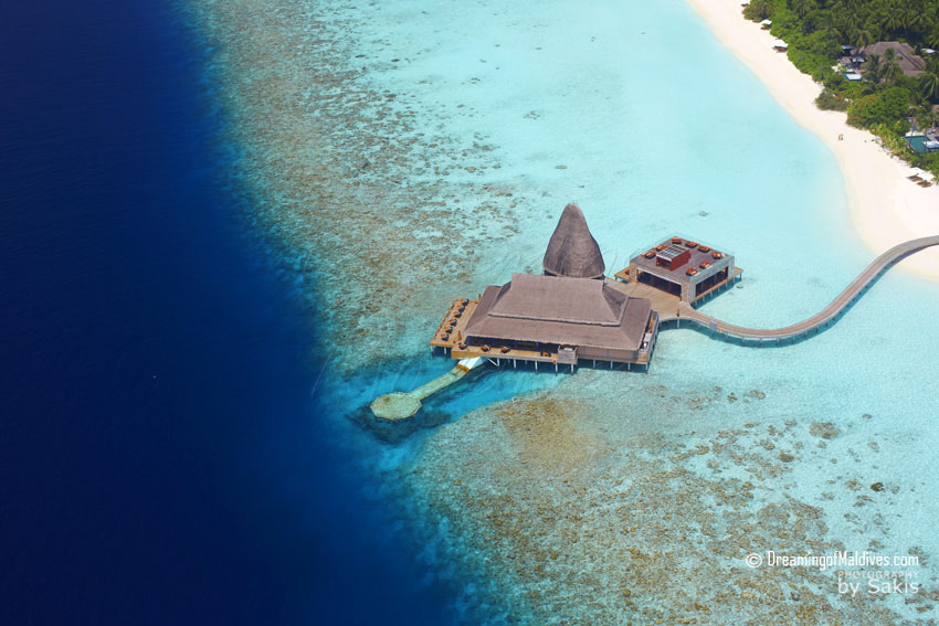Anantara Kihavah Maldives - Sea.Fire.Salt.Sky Dining complex Aerial View