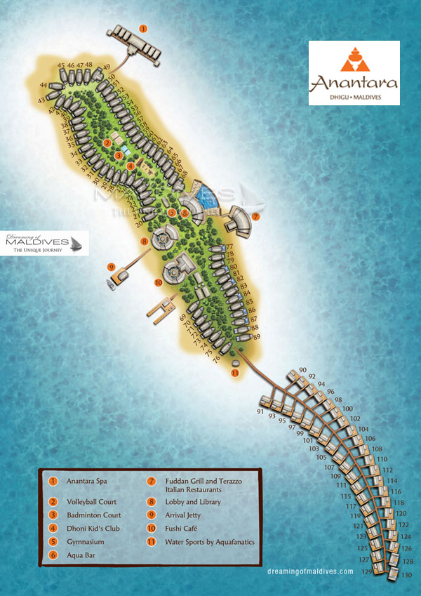 Anantara Dhigu Maldives Resort Map