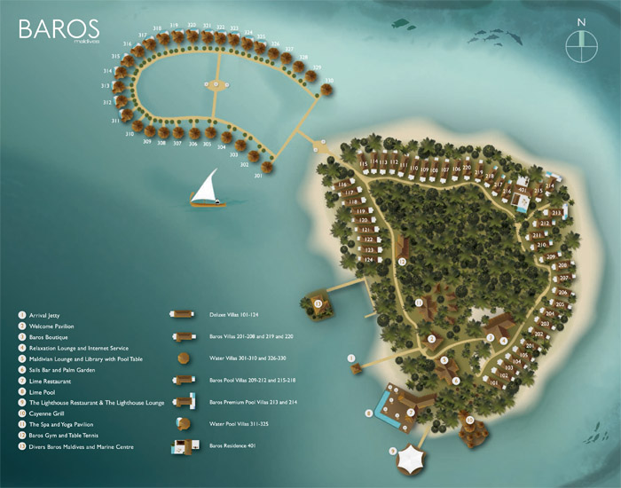 Baros Maldives Resort Map