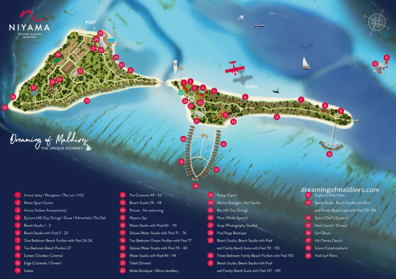 Niyama Maldives Resort Map