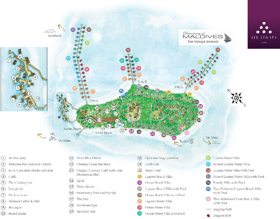 Six Senses Laamu Maldives Resort Map