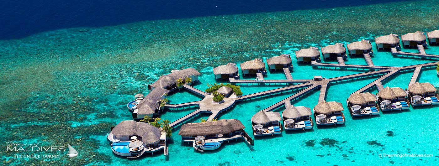 W Maldives Retreat & Spa aerial view water villas retreats