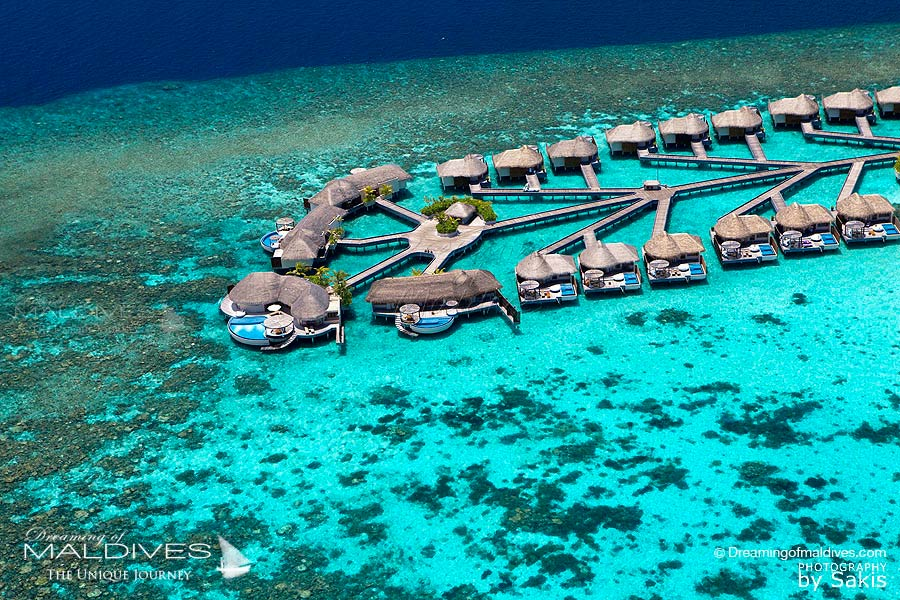 W Maldives Water Villas Aerial View