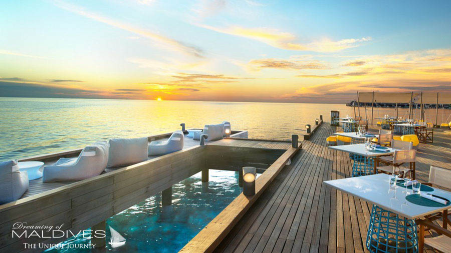 W Maldives Fish Restaurant Deck at Sunset