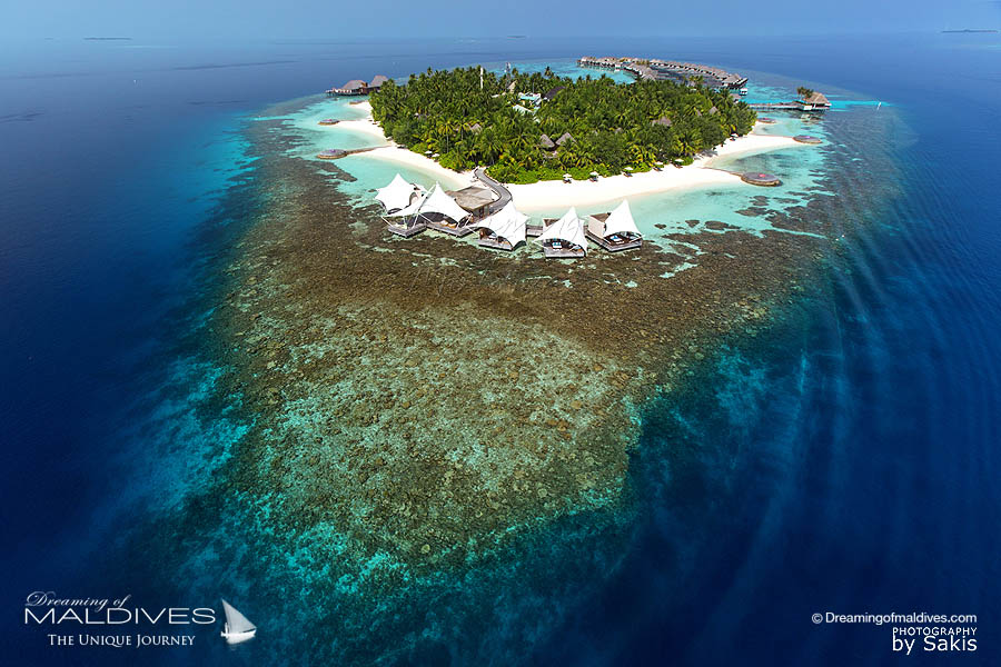 W Maldives Island House Reef Aerial View