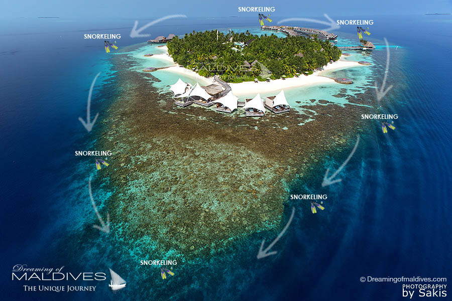 where to snorkel around W Maldives. Map of The Snorkeling Spots