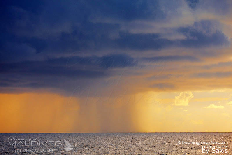 rain shower during Maldives rainy season